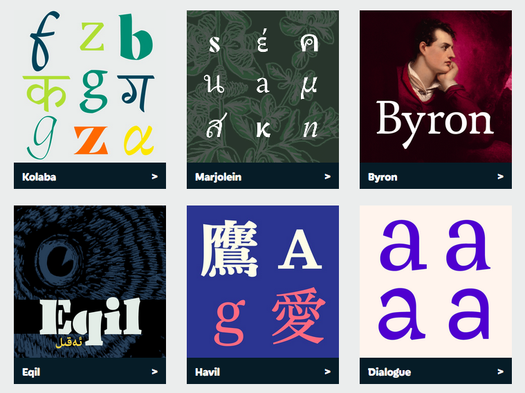 Typefaces from the 2016 MATD class
