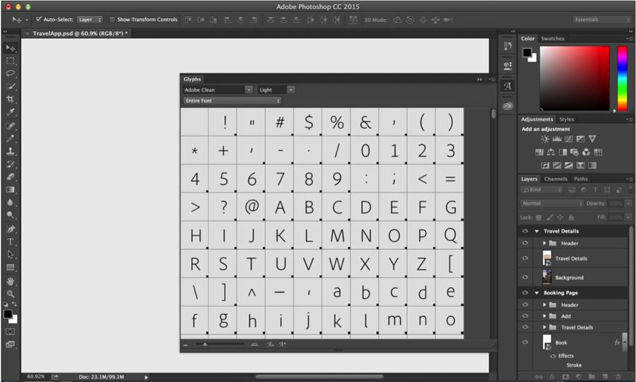 Photoshop CC 2015 has got Glyphs panel. Finally