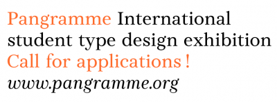 Pangramme – International student type design exhibition