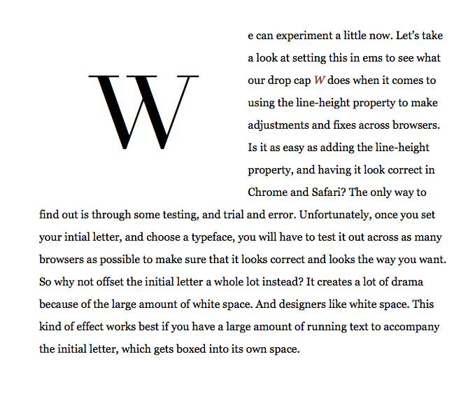 Making initial letters in web design