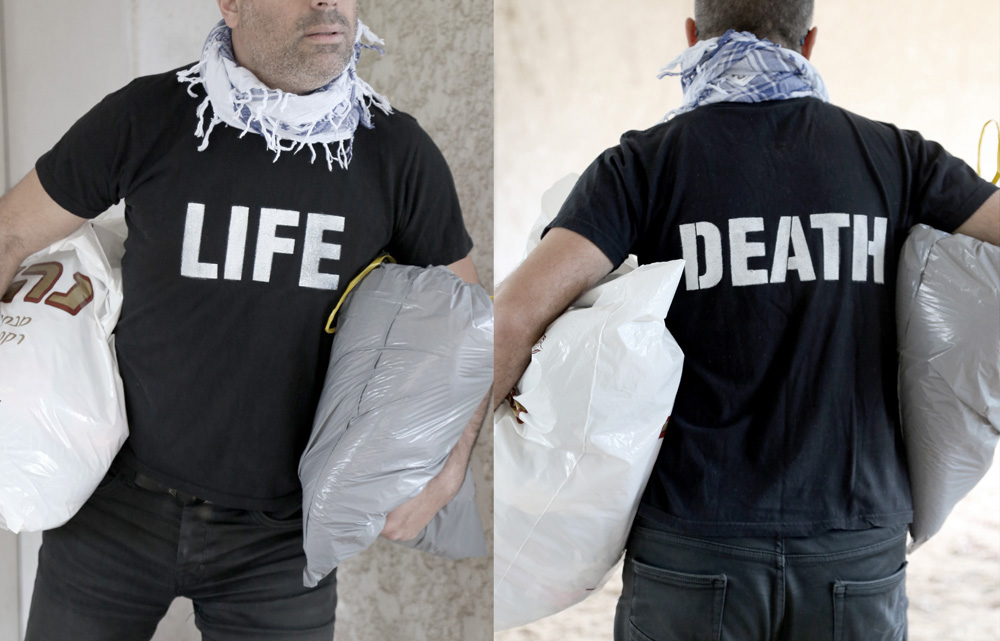 Life/Death t-shirt for escaping refugees by Oded Ezer