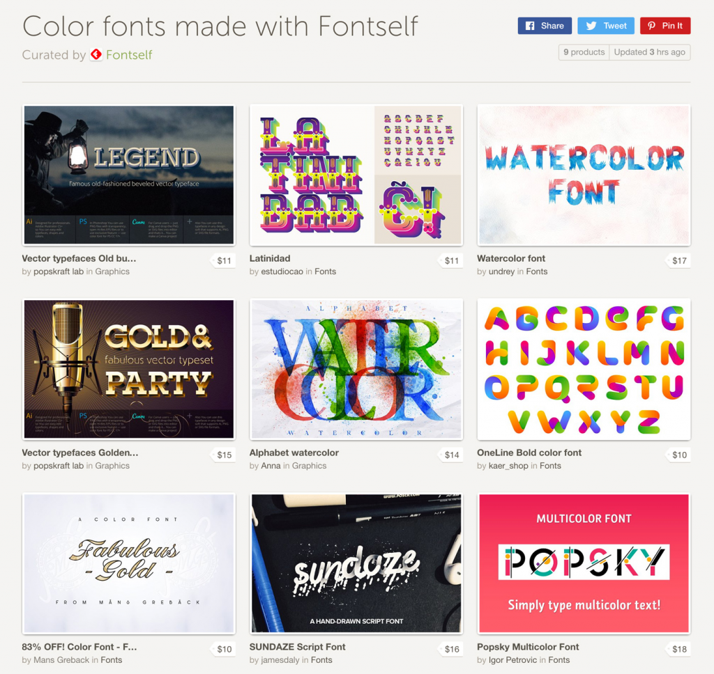 The world's first color fonts collection
