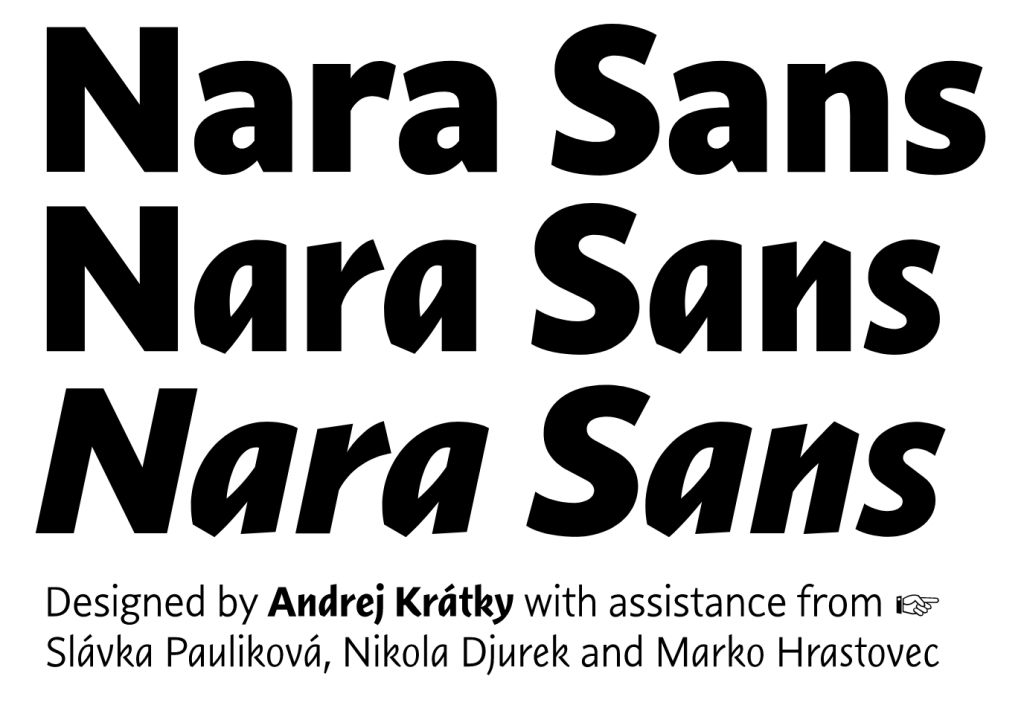 Nara Sans, a dynamic sans with two italics by Typotheque